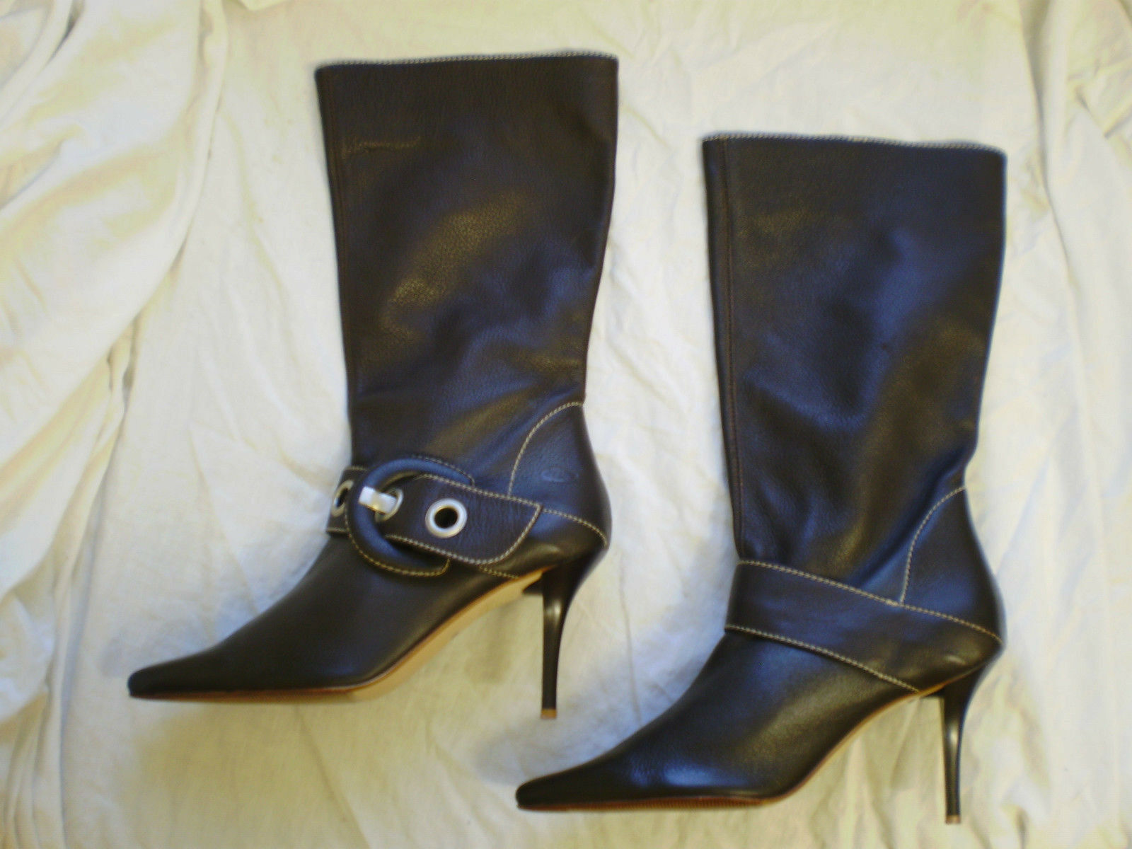 Womens LOGO 69 Brown Leather Pull On Winter Mid Calf Boots New Size 5