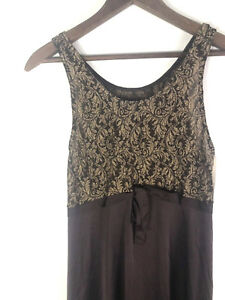 Vintage-1960s-Shadowline-Negligee-Nighty-Bridal-Nightgown-Small-Brown-Gold-NEW-z