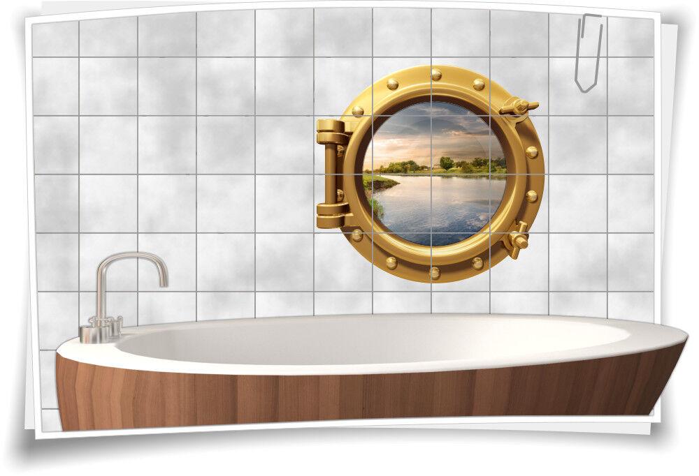 Fliesenaufkleber Fliesenbild Fliesen Bullauge Wasser Fluss Aufkleber Bad | Zu einem erschwinglichen Preis
