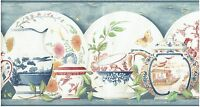 Victorian Oriental China Dinner Ware Antique Wallpaper Border Wall Kitchen