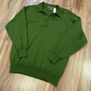 Gianni-Versace-Classic-V2-Green-Wool-1-4-Zip-Sweater-Made-in-Italy-Sz-Medium