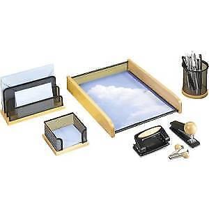 Rumold Schreibtischset 8-teilig Streckmetall schwarz mit Naturholz