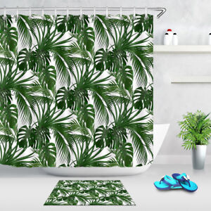 Shower Curtains Tropical jungle leaves mildew resistant complete Bathroom set