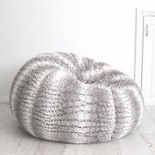 Fur Beanbag Cover Insert Soft Silver Grey White Husky Bean Bag Lounge Chair