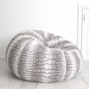 Fur Beanbag Cover Soft Silver Grey Husky Bean Bag High End