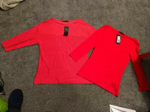 BNWT M/&S COLLECTION LADIES  TOP X2 SIZE 8 PURE COTTON Red  3//4 Sleeve