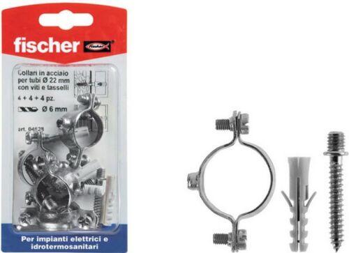 Collarini in acciaio per tubi misura mm 20 pezzi 4+4+4 fischer.
