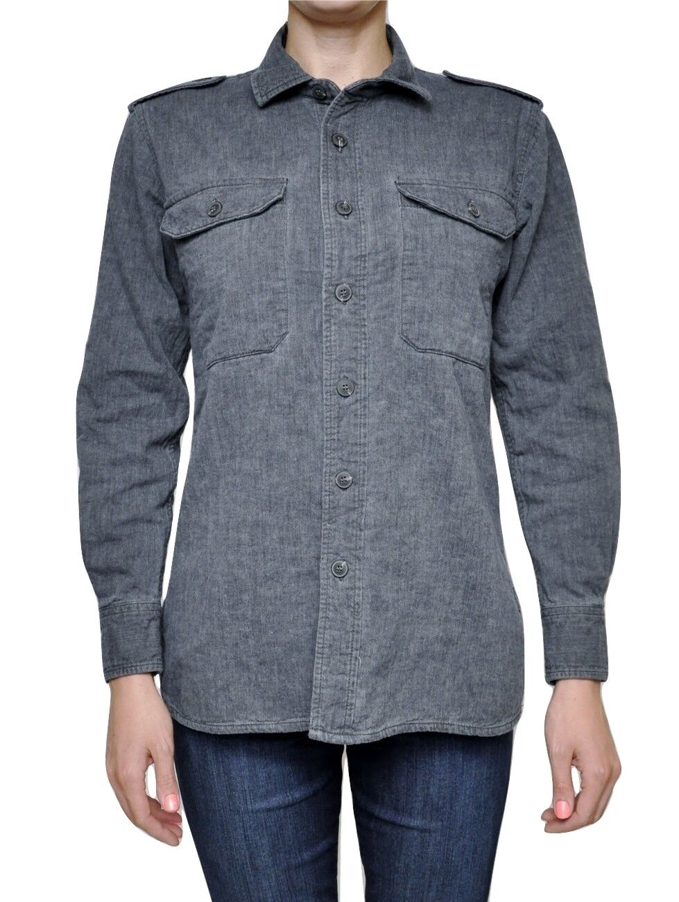 Joe's Jeans Military Shirt Chest Pockets Thick Cotton Shirt Charcoal Nwt