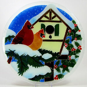 Peggy-Karr-CARDINAL-BIRDHOUSE-13-75-034-Round-Platter-Fused-Glass-Mint-Snow-Holly