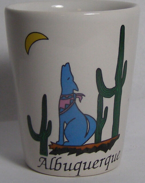 Albuquerque Dog Howling At Moon Shot Glass #3100