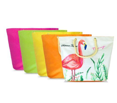 Borsa mare Sabrina Tenori 427124 Flamingo con doppio manico in juta 45 x 52 cm