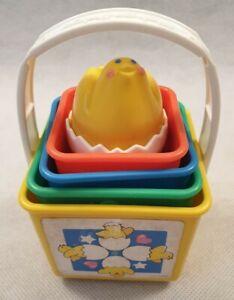 VINTAGE Fisher Price & impilamento blocchi di nidificazione con suoni giocattolo ANATROCCOLO 1986