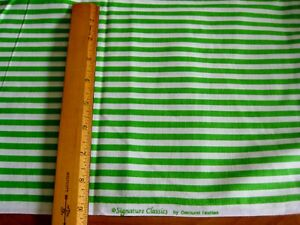 Details About White Bright Green Stripes Striped Fabric Quilting General Sewing By The Yard