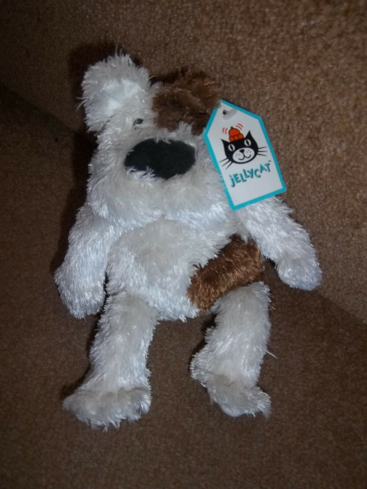 NEW JELLYCAT BUSTER THE ALLEY PUPPY DOG SOFT TOY J499 CREAM BROWN PATCH