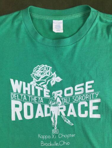 Vintage Women's L 1983 Delta Theta Tau Sorority Rose Road Race G