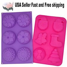 2 sets of 6 Cavity Christmas & Flower Silicone DIY Handmade Soap Mold US Seller