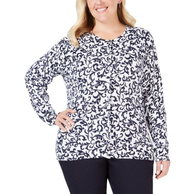 Karen Scott Womens White Printed Cardigan Top Shirt Plus 2x BHFO 2565