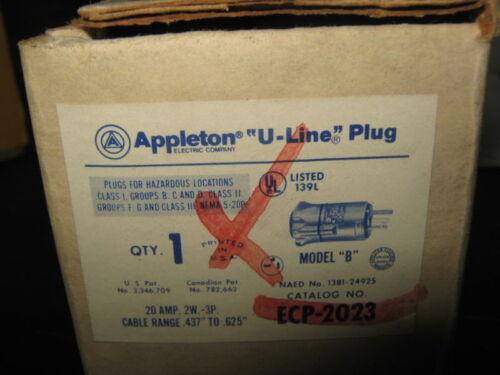 APLLETON U LINE PLUG   ECP-2032 20AMP 1HP 125VAC NIB
