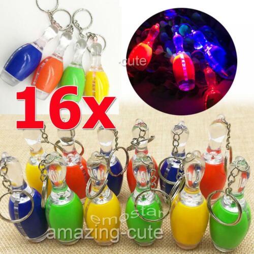 16x Bowling Pins LED Schlüsselanhänger Taschenlampe Kegeln Mitgebsel leuchtet DE