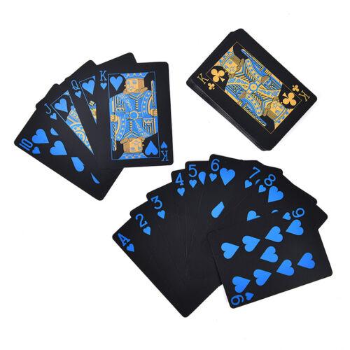 55Pcs Waterproof Plastic Pvc Black /& Gold Playing Cards Poker Card Board Gam  lI