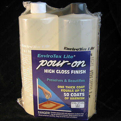 EnviroTex Lite 1/2 gallon POUR-ON High Gloss Finish tabletops jewelry 64 oz