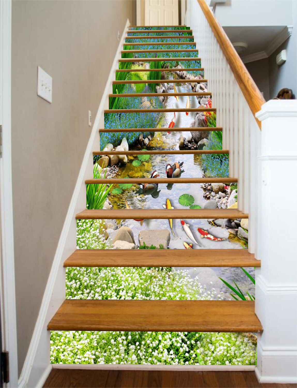 3D Sauber Bach 7259 Stair Risers Dekoration Fototapete Vinyl Aufkleber Tapete DE