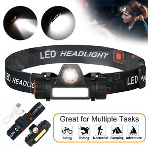 2-Modes-USB-Rechargeable-Headlamp-COB-LED-Headlight-Head-Light-Torch-Flashlight