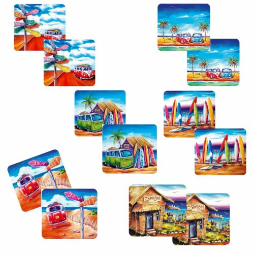 Australian Summer Collection of 12 Drink Coasters with Beautiful Kombi Design