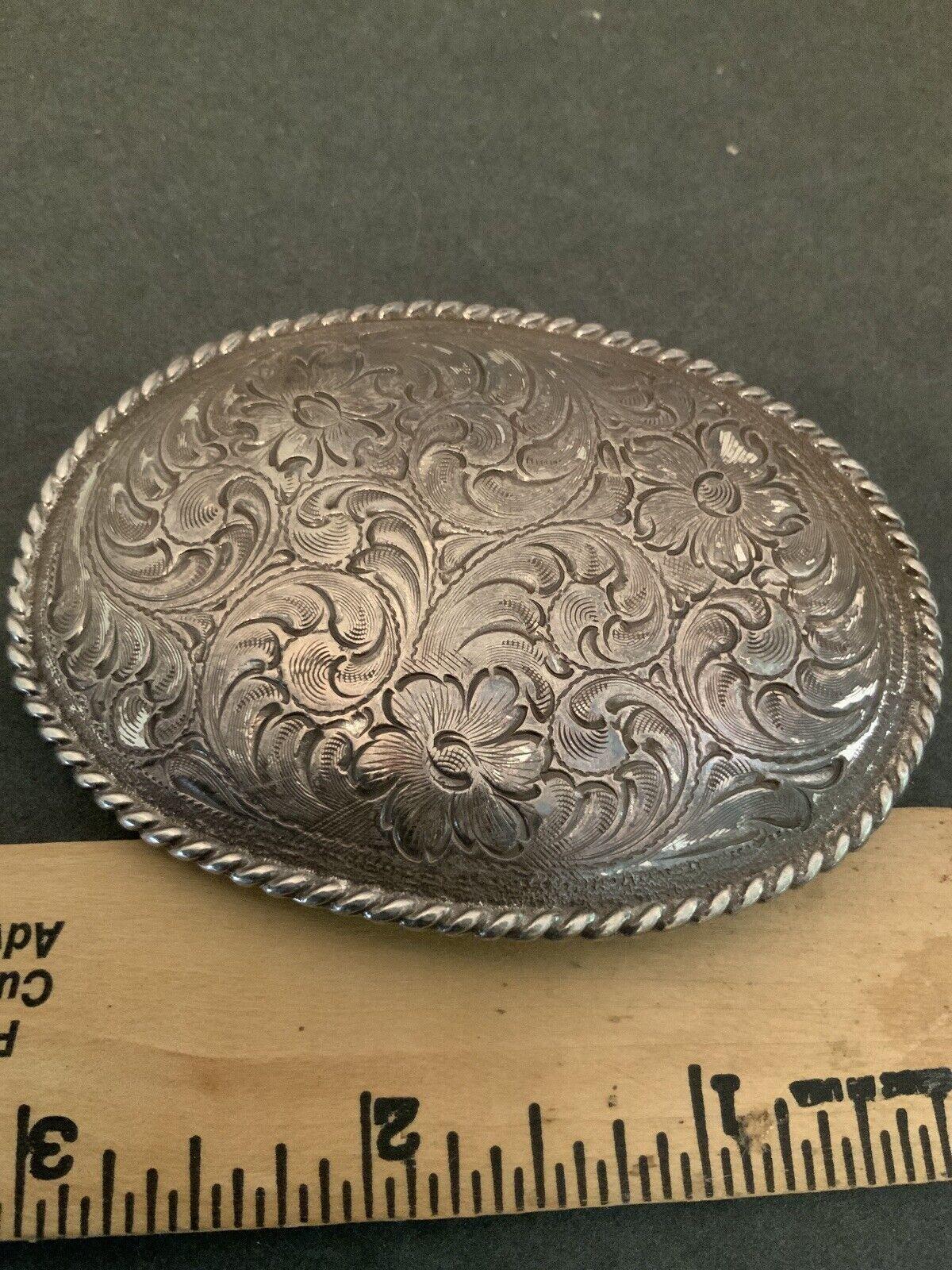 Silver Tone Cowboy /Girl Flower Design Belt Buckle
