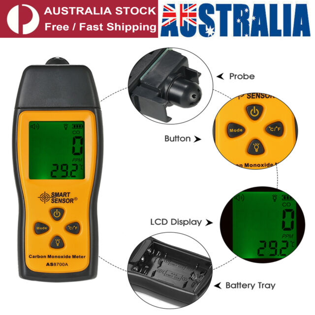 Portable Carbon Monoxide Meter CO Monitor Detector Gauge 0-1000ppm Gas Tester
