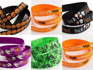 Halloween-Grosgrain-Ribbon-9-amp-15mm-x-5m-Pumpkin-Spider-Spooky-Trick-or-Treat-5m