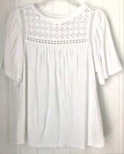 GAP-Womens-Size-M-White-Eyelet-100-Cotton-Short-Sleeve-Blouse