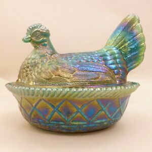 LARGE Westmoreland MALACHITE GREEN CARNIVAL SLAG GLASS Hen HON Nest Dish
