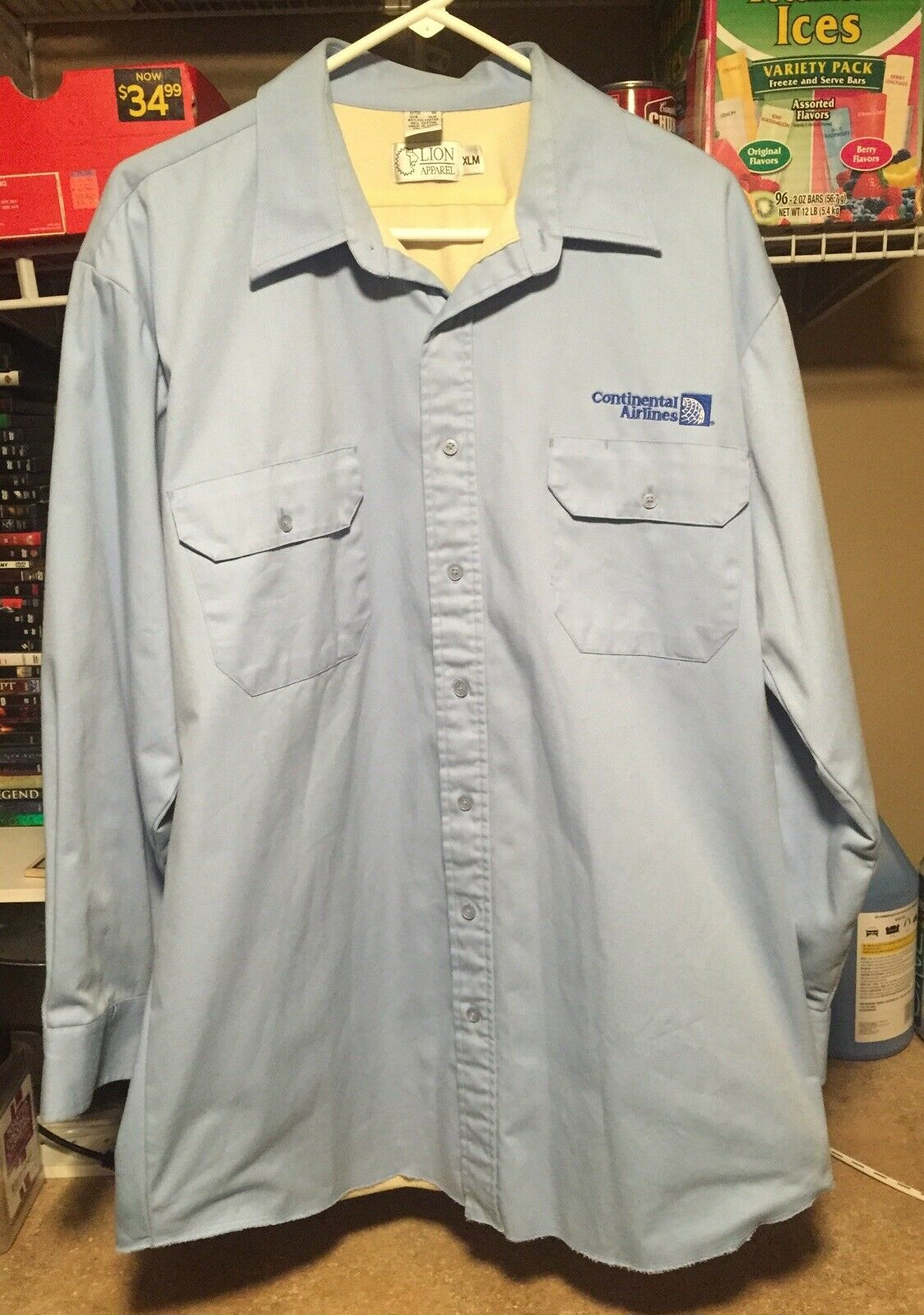 Vintage Continental Airlines Long Sleeve Dress Cargo Lined Button Shirt Lion App