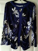Susan Graver Shirt Size Large Blue And Black Floral Print With Ruching $49
