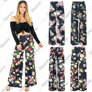 0fb24aa87597 Image is loading New-Womens-Floral-Printed-Parellel-Trousers-Flared-Wide-