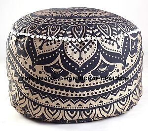 INDIAN-BLACK-GOLD-OMBRE-MANDALA-OTTOMAN-POUFFEE-FOOT-STOOL-POUF-ROUND-FLOOR-POOF