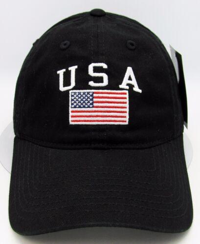 USA American Flag Cap US Military Unconstructed Dad Hat Adjustable OSFM Black