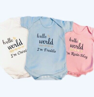 Newborn Baby Girls Hello World Bodysuit personalized