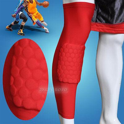 Honeycomb Pad Crashproof Antislip Basketball Leg Knee Long Sleeve Red M L XL