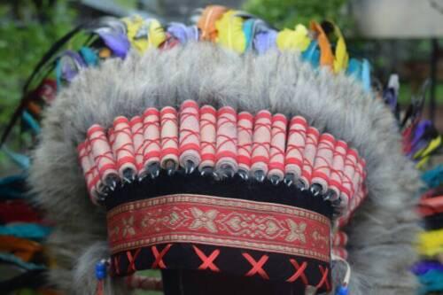 Indian Headdress Handmade Warbonnet Large Rainbow Hat Feather Costume Headband