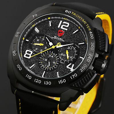 Shark Men's Sport 6 Hands Black Dial Leather Date Day Quartz Analog Wrist Watch
