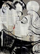 Loui Jover The Red Umbrella Vintage Couple Kiss Romance Print Poster 14x11
