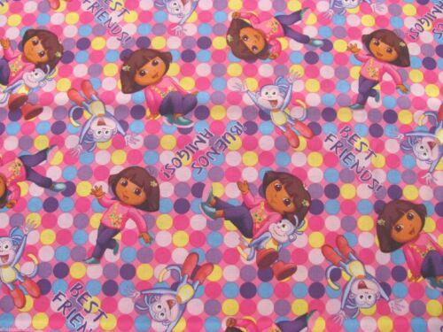 "15/"" x 43/"" Dora The Explorer Spots Nickelodeon Boots Polka Dot on Cotton Fabric"