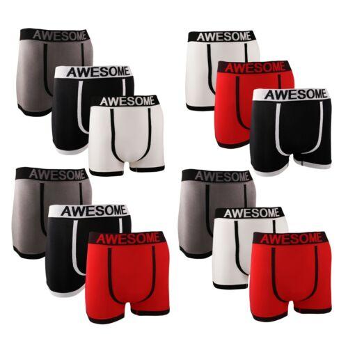 3 Paires Kids Awesome Nouveauté Boxer Shorts Trunks Sous-vêtements .3//5//6//8//9//12 ans