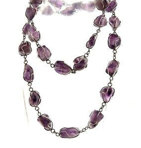 Amethyst Wire Woven Pendant with Lilac Coloured Amethyst Beads