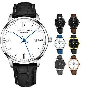 Stuhrling-Men-039-s-3997A-Minimalist-Design-Dress-and-Casual-Genuine-Leather-Watch