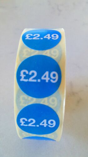 Roll Of 1000 £2.49 Blue 20mm Self Adhesive Price Labels