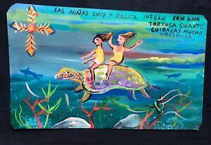 Mexican-Folk-Art-Miguel-Hernandez-Children-Ride-Giant-Turtle-Retablo-Ex-Voto