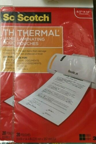 """A lot of 2 Scotch Thermal Laminating Pouches Clear 20 Puches Each 8.5/"""" x 14/"""""""